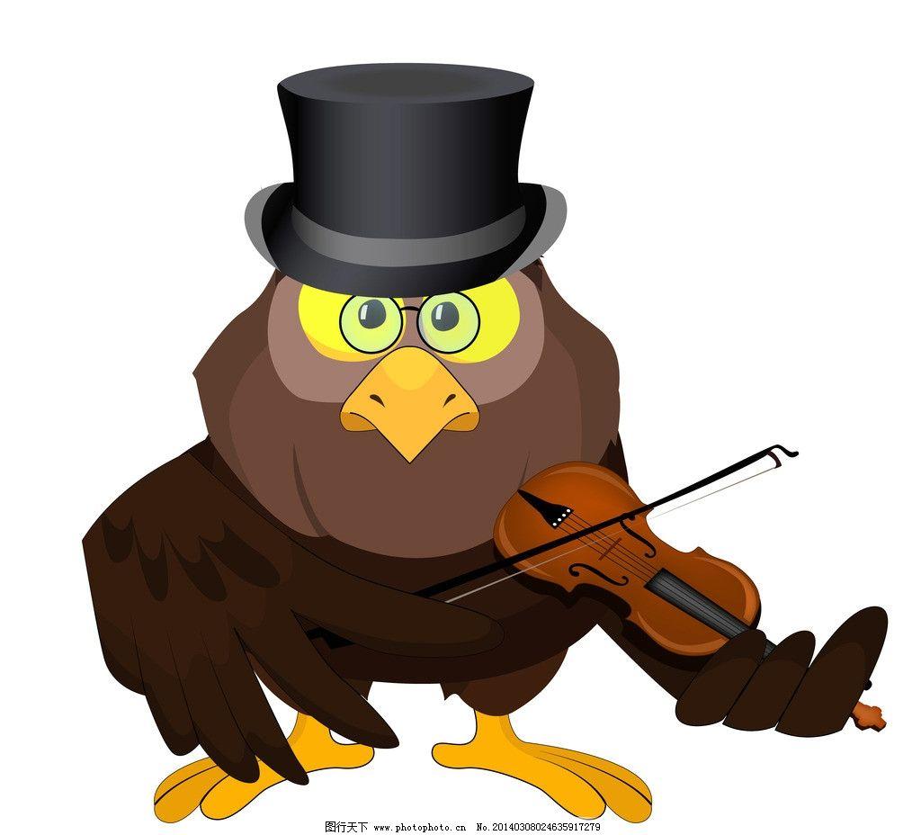 卡通鸟 卡通可爱的鸟 手绘 拉小提琴 卡通 鸟 矢量 小鸟 鸟类 生物