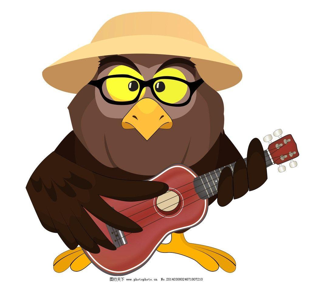 卡通鸟 卡通可爱的鸟 手绘 卡通 弹吉它 鸟 矢量 小鸟 鸟类 生物世界