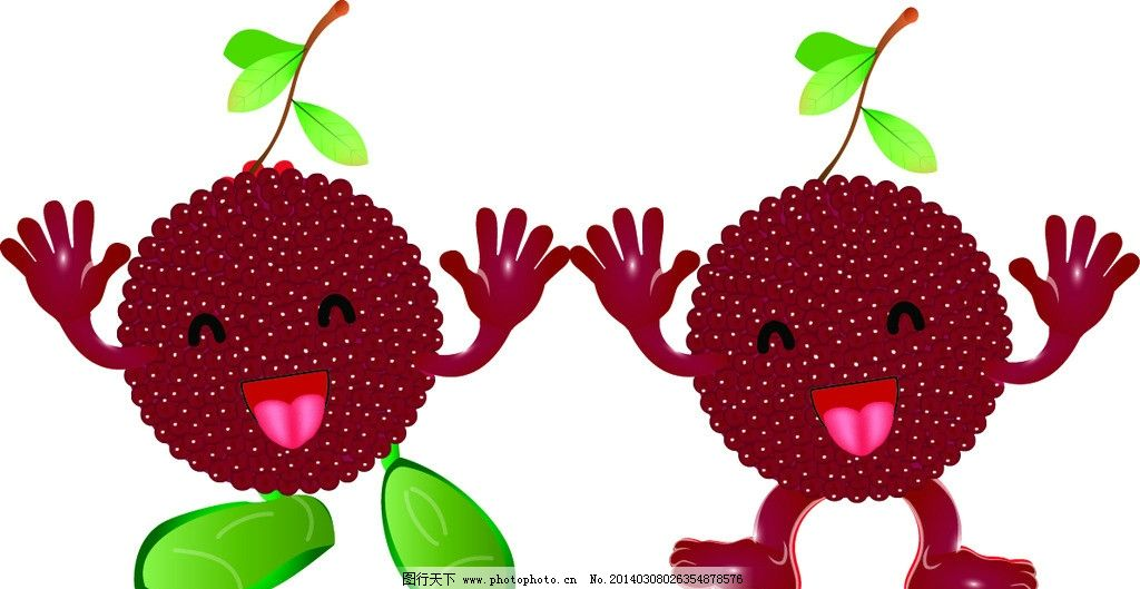 矢量水果 樱桃 草莓 绿叶 娃娃 可爱 网格填充 饮料