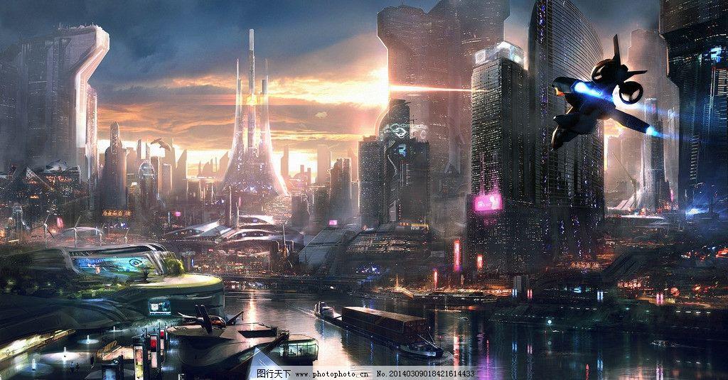未来城市 科幻 建筑 楼房 背景 城市 风景漫画 动漫动画 设计 72dpi