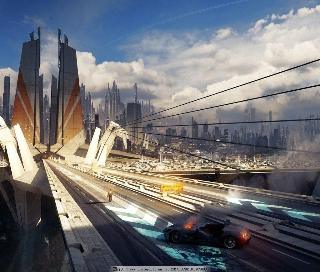 科幻图片 未来城市 建筑 未来 科技 未来交通 大桥 风景漫画 动漫动画