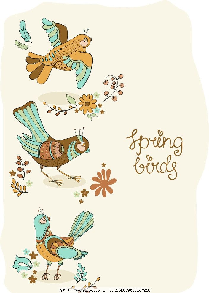 手绘花卉 鲜花 小鸟 卡通小鸟 花草背景 生物世界 矢量