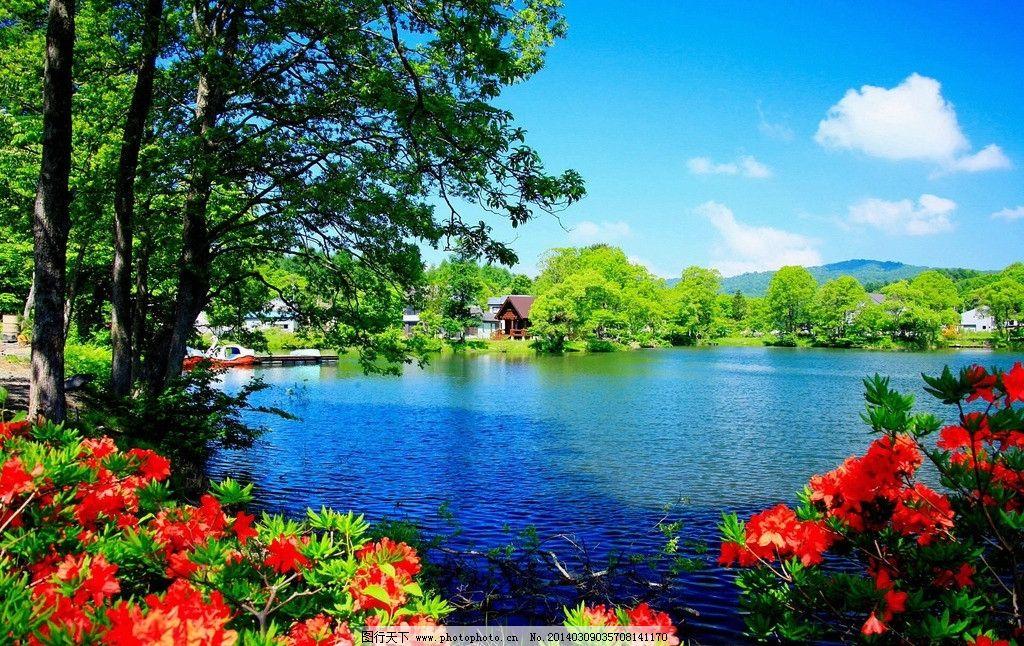 湖水 天空 蓝天 白云 花儿 植物帝国 花草 生物世界 摄影 jpg