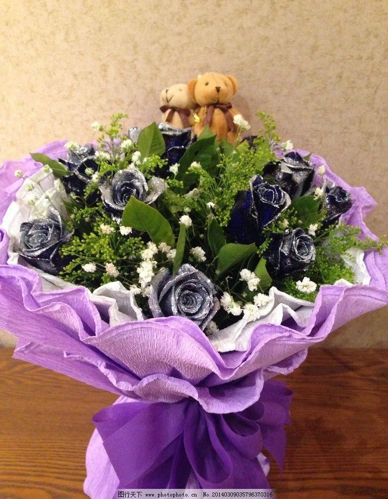 花束玫瑰花 玫瑰花 花束 蓝色妖姬 小熊 玩具 扎花 手捧花 静物特写