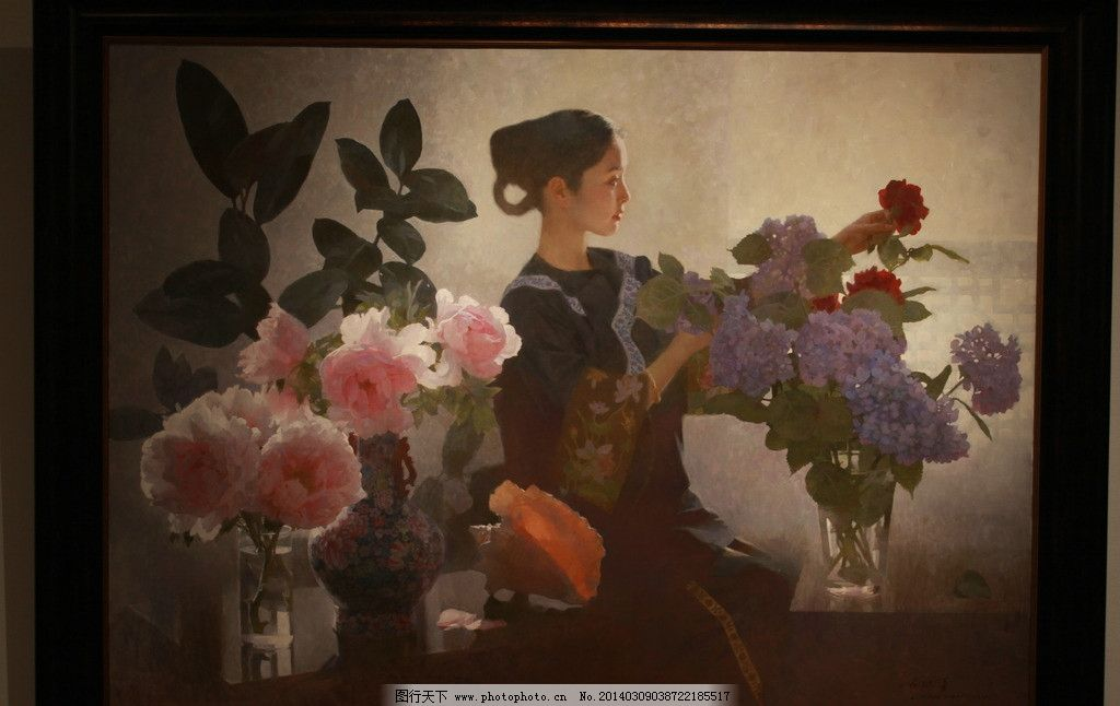 陈衍宁油画 油画 仕女 旗袍 牡丹 古典美 美术绘画 文化艺术 摄影 72