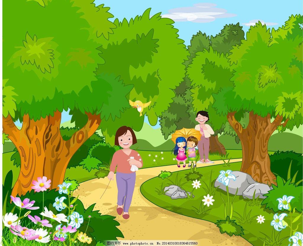 卡通风景 小女孩 风景矢量 太阳 天空 云朵 小树 花朵 野花 河流 小鸟