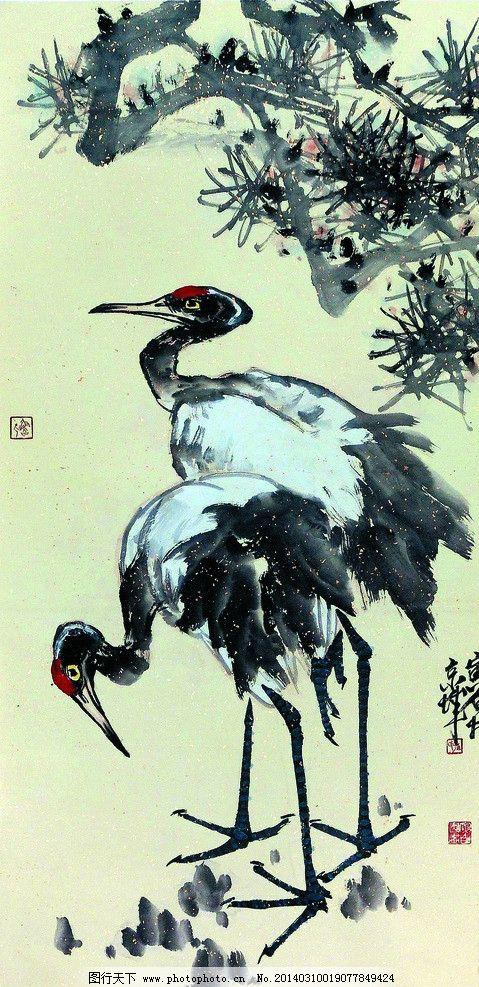 松鹤图 美术 中国画 彩墨画 动物画 白鹤 丹顶鹤 松树 国画艺术 绘画