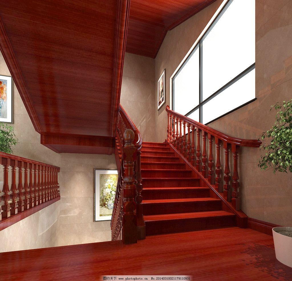 木楼梯效果图 木楼梯        三维图      3d 立体 装修 上下楼 窗户