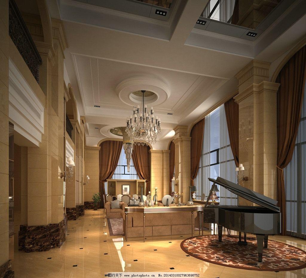 别墅大厅效果图 简欧式 室内设计效果图