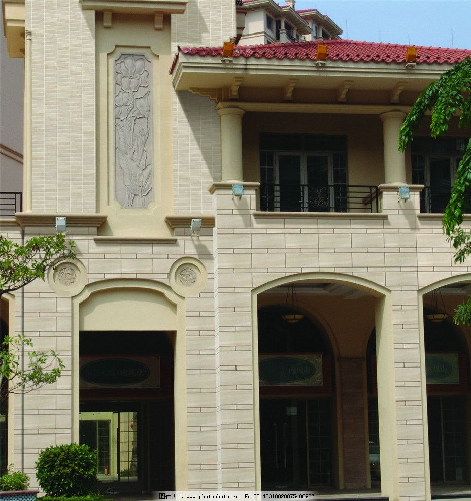 别墅 欧式别墅 红瓦 阳台 建筑 楼房 瓷砖效果