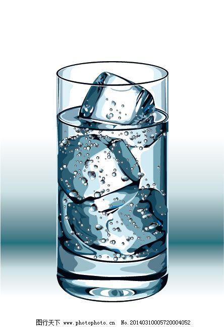 一杯冰水矢量图
