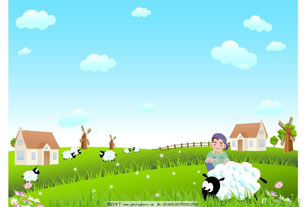 牧场 春景 卡通插画 插画素材 风景插画 卡通风景 小女孩 风景矢量