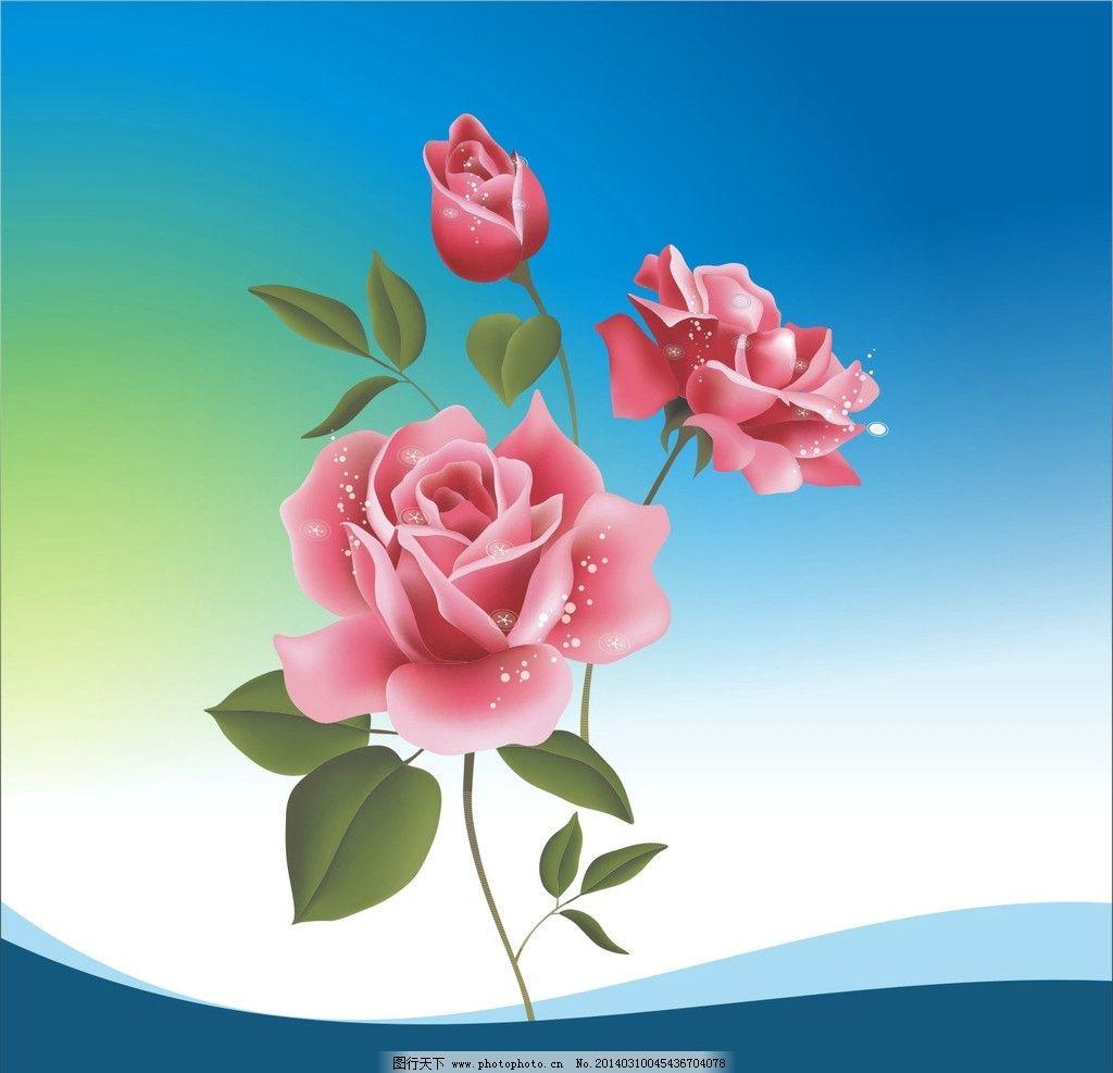 花朵 线条 图案 绿叶 背景 设计 素材 花草 生物世界 矢量 cdr