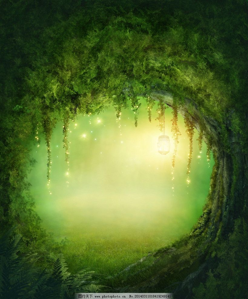 童话背景 梦幻背景 童话世界 花卉 花草 树林 树木 森林 设计风光