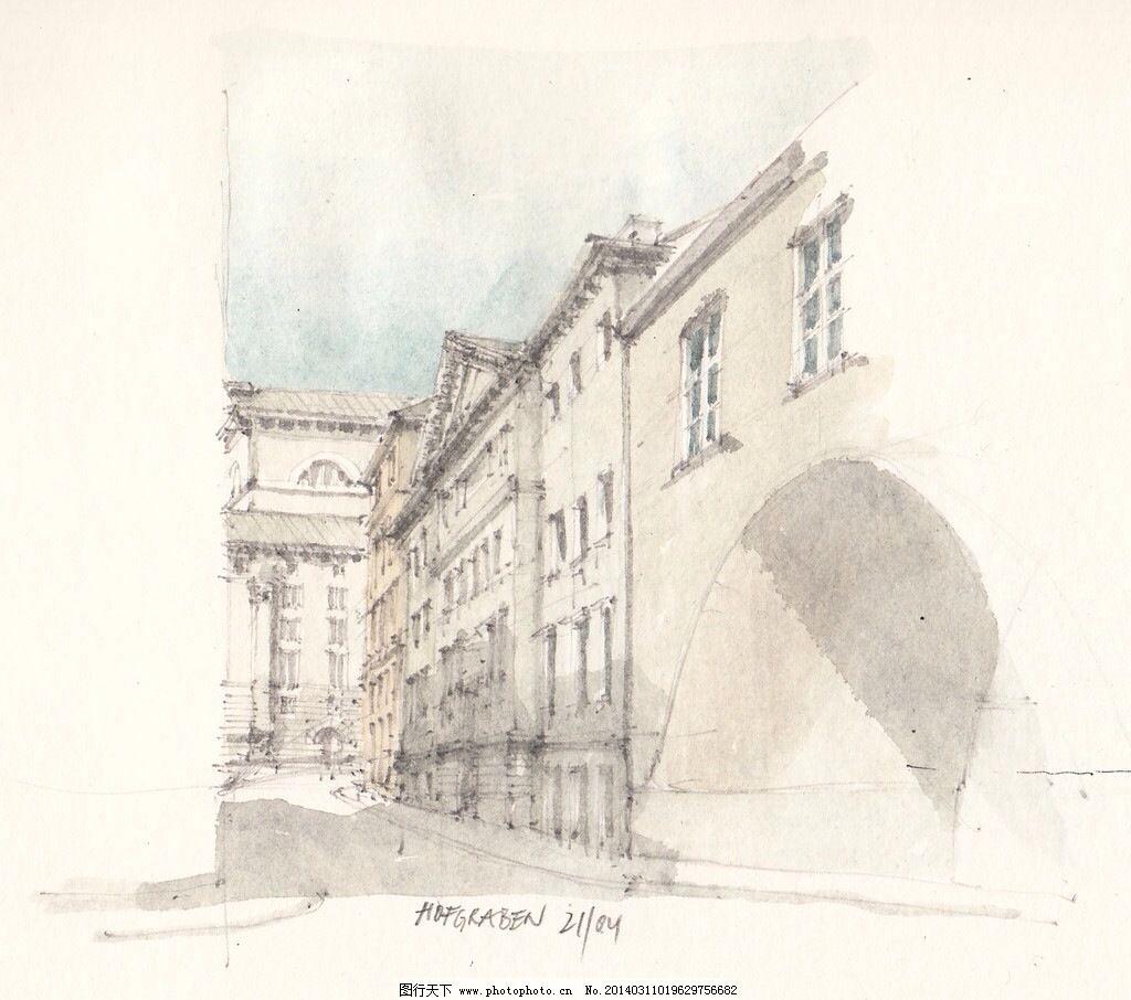手绘欧式房子免费下载 街道 立体 米色 手稿 素描 米色 素描 手稿