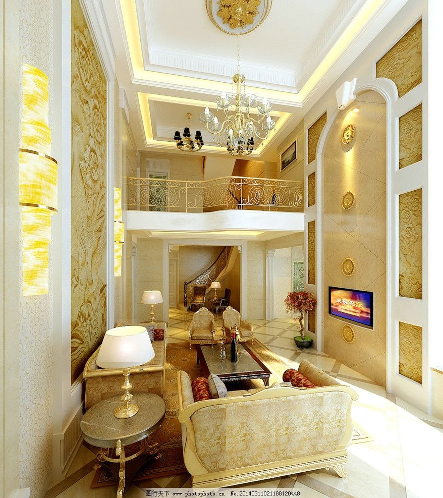 复式欧式风格客厅设计图片