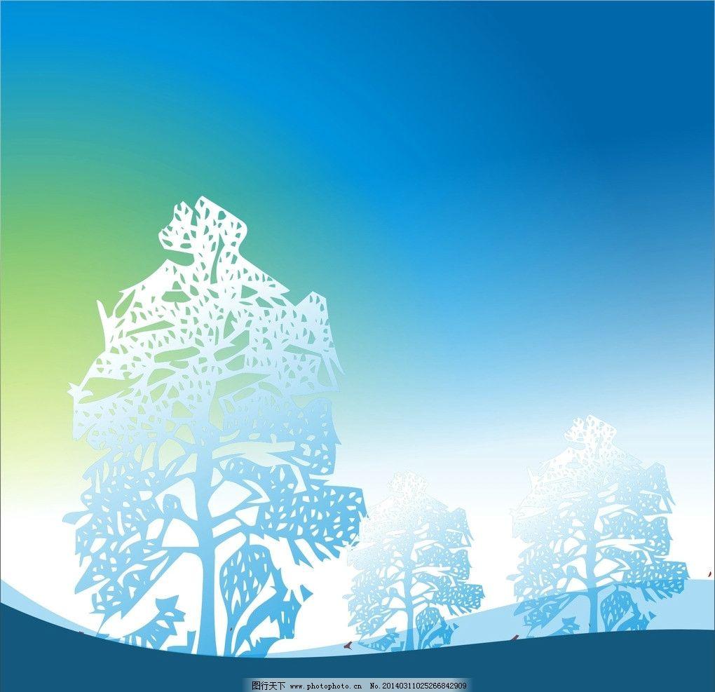 树木 天空 图案 草地 背景 设计 素材 树木树叶 生物世界 矢量 cdr
