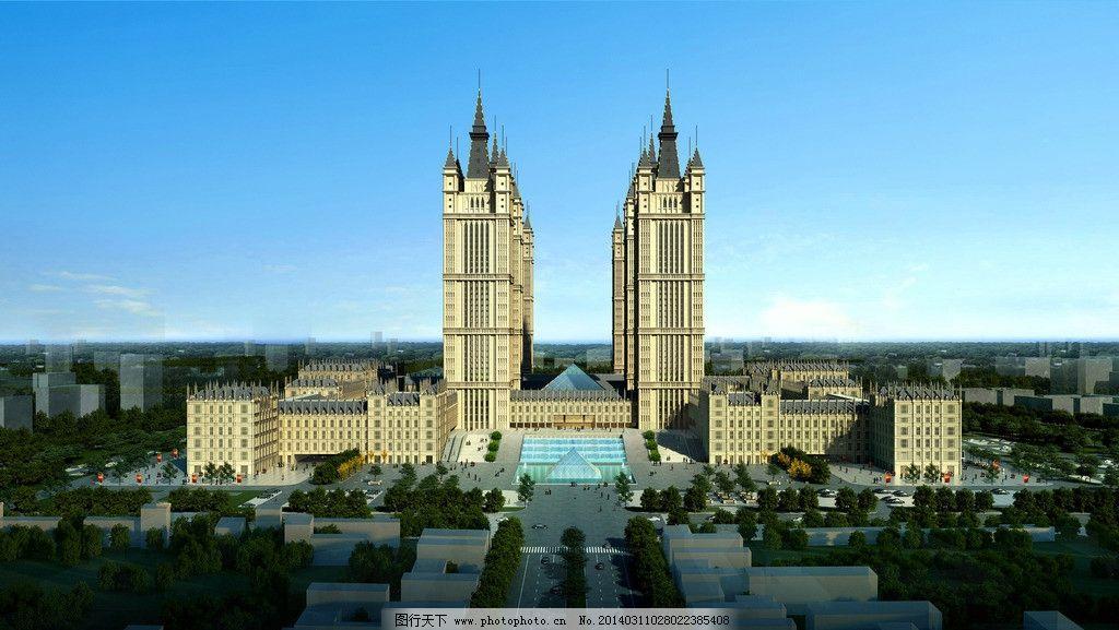 欧式复古建筑结构透视图