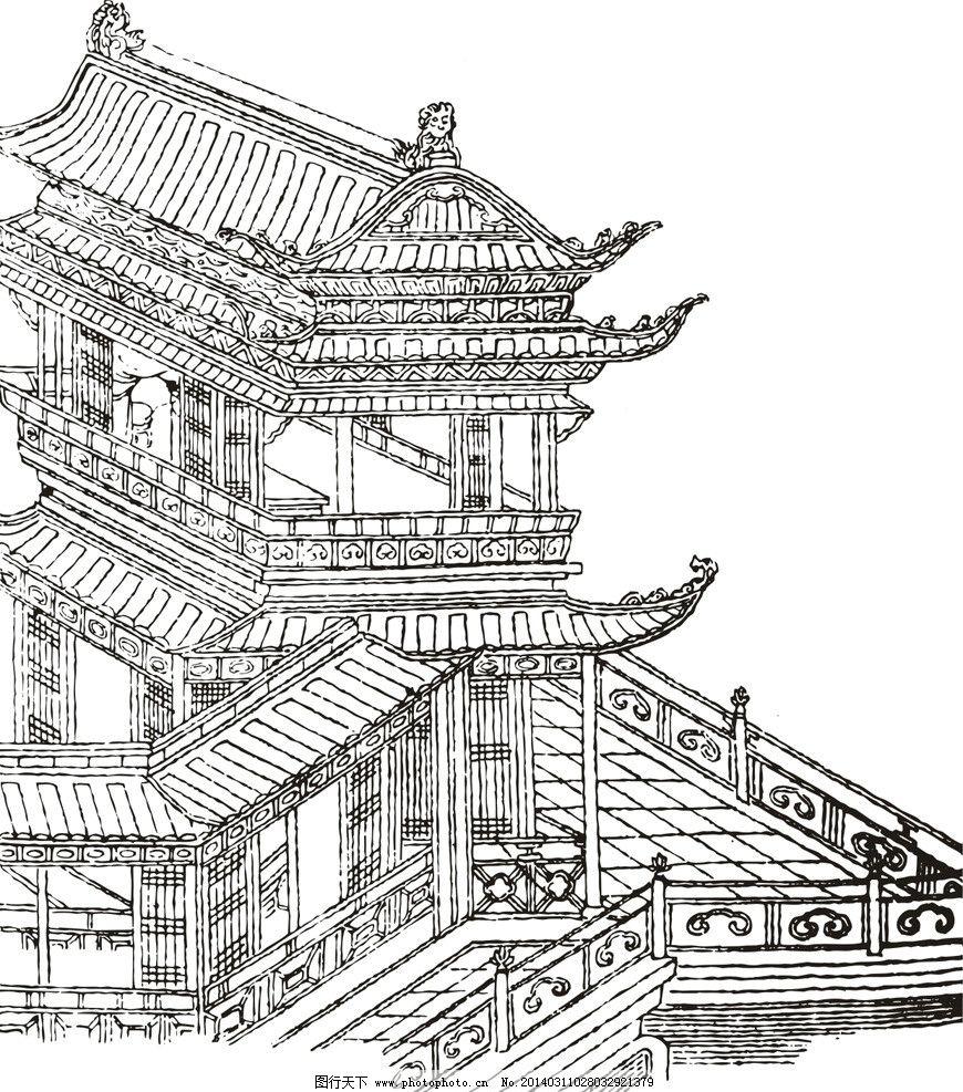 古代建筑设计图线稿展示图片