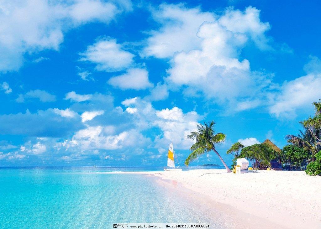 普吉岛 泰国 蓝天 白云 海 小岛 帆船 阳光 椰子树 遮阳伞