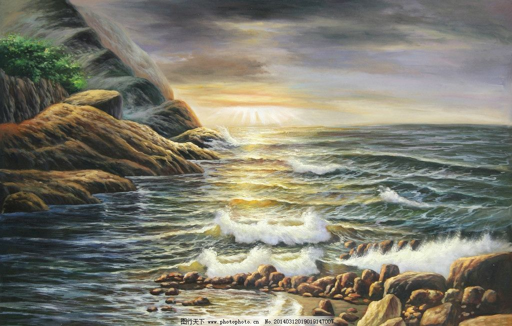 大海油画 海景 手绘油画 欧式 风景油画 绘画书法 文化艺术 设计 72