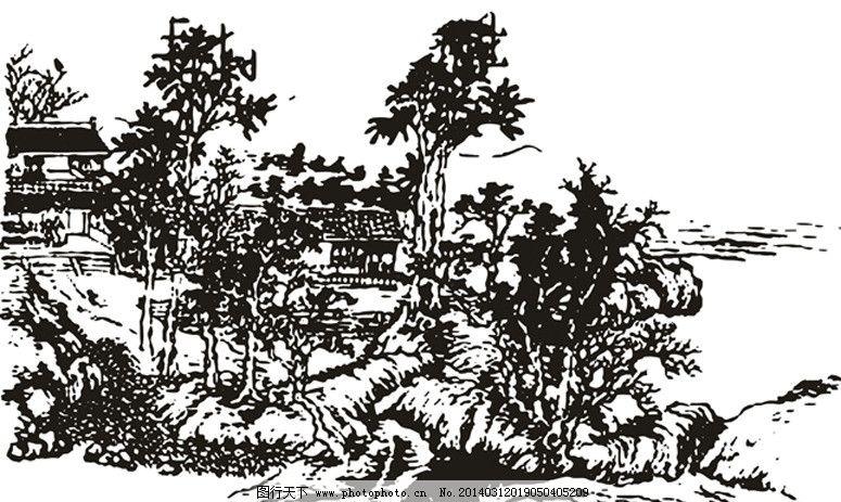 白描山水 山水 学校 文化 线条 风景 美术绘画 文化艺术 矢量 cdr