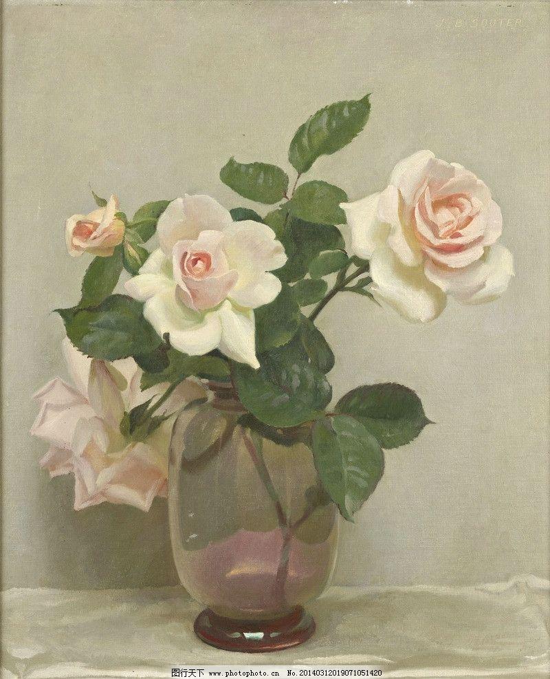 月季花 静物鲜花 玻璃花瓶 白色桌布 白色调 20世纪油画 油画 绘画
