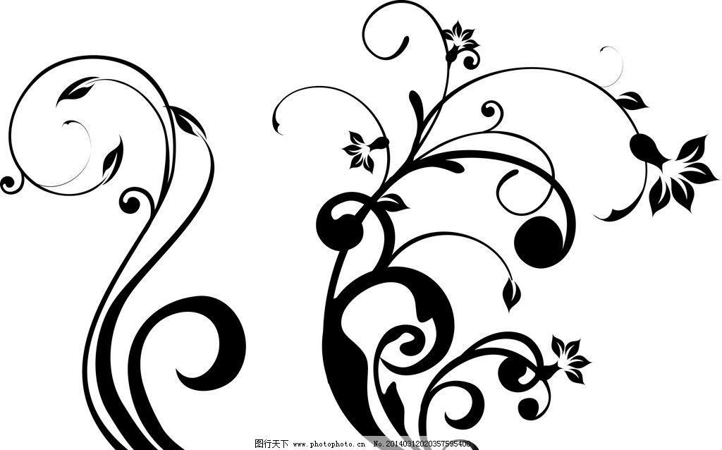 黑白花藤边框简笔画