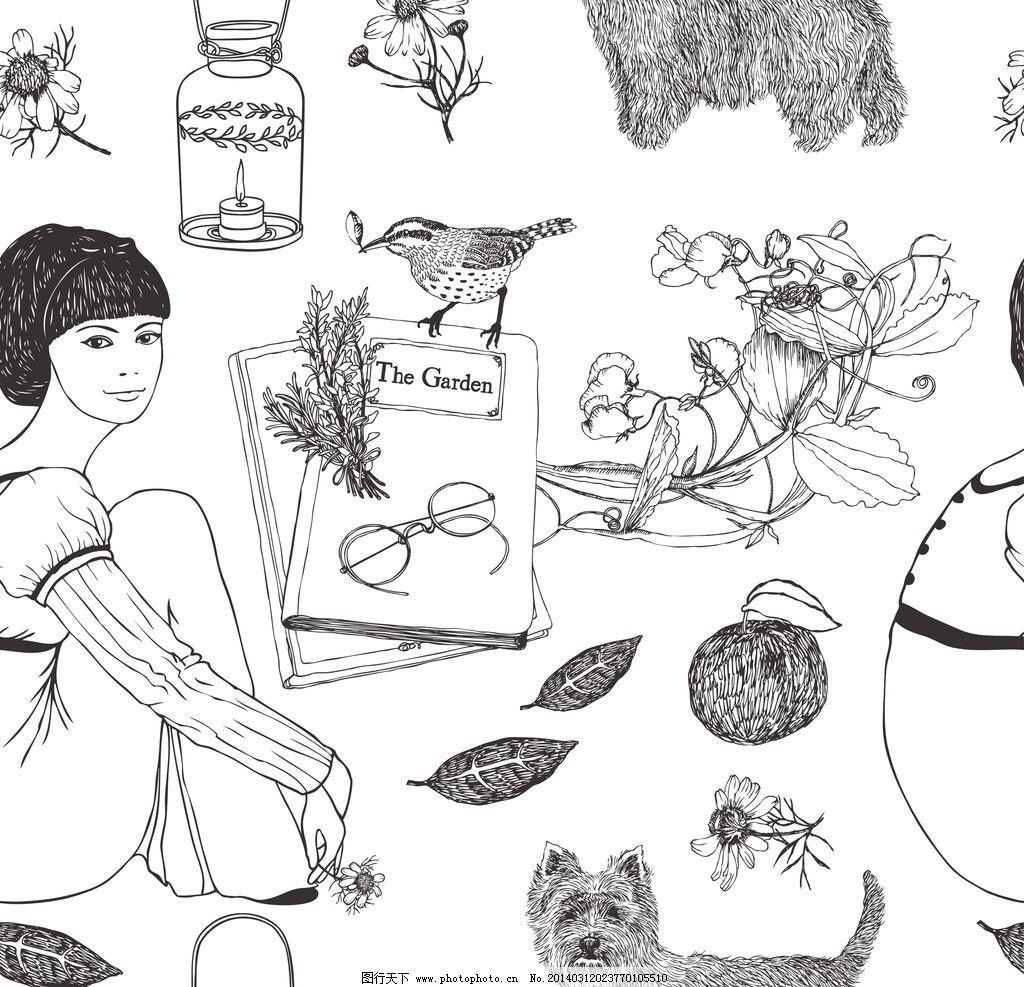 手绘少女 少女 女孩 手绘 花卉 宠物猫 动漫人物 插画人物 矢量插画