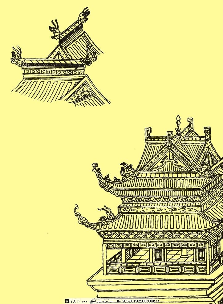 国画中式古建筑图片图片