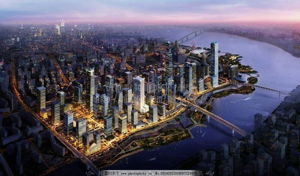 城市中心设计效果图 城市鸟瞰图 城市规划 灯光四射 夜景城市 城镇