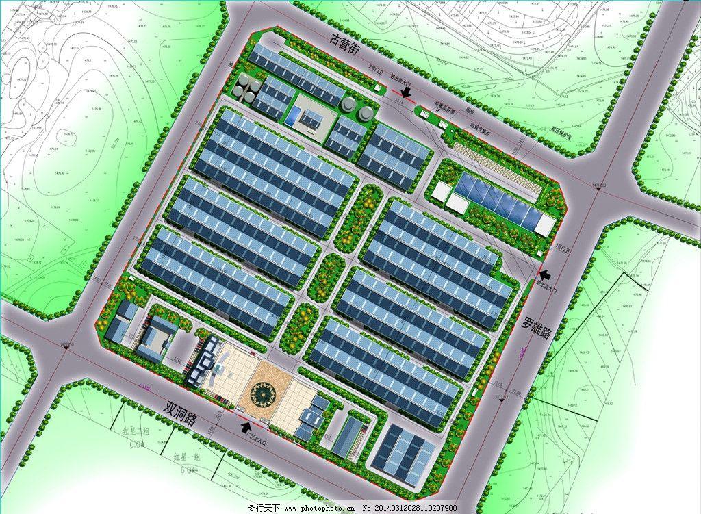规划总平效果图 彩平 绿化 手绘 建筑 平面 办公楼 广场 厂房