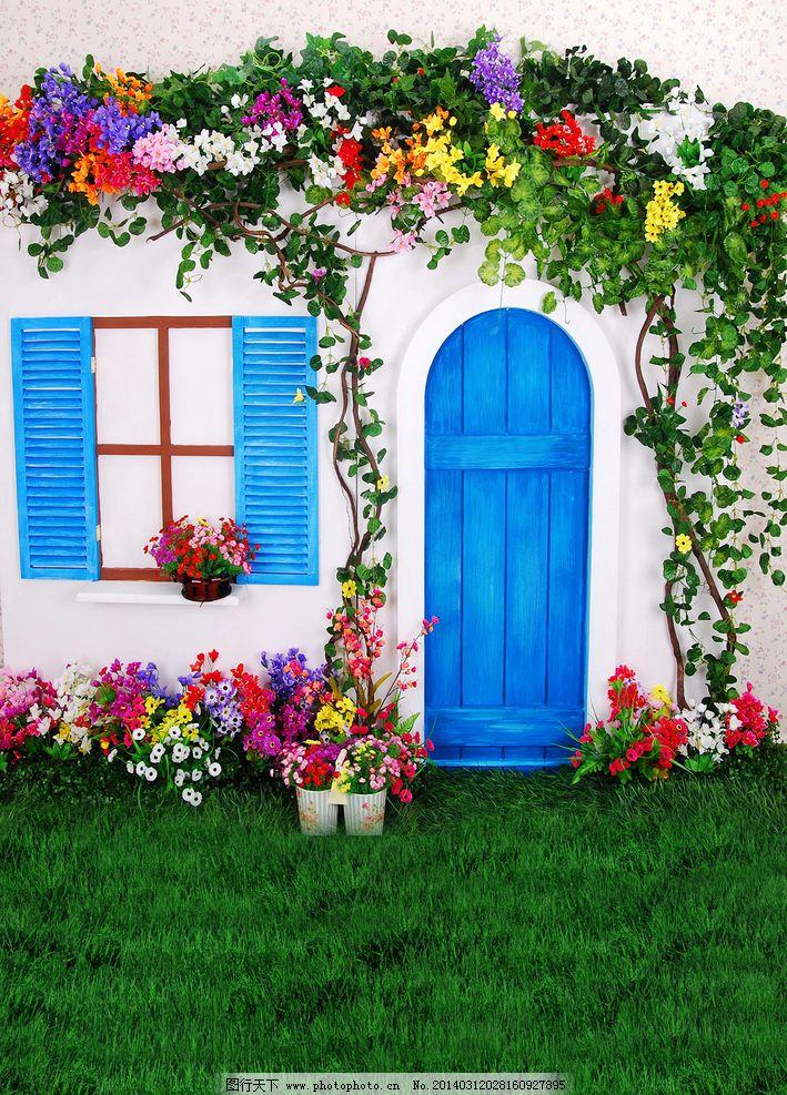 照相馆背景 花藤 青草 鲜花 门窗 景观设计 环境设计 设计 78dpi png