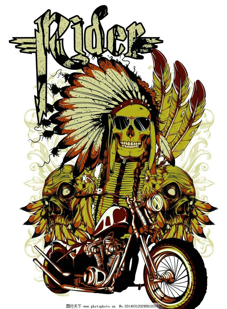 t恤图案 印第安人 摩托车 翅膀 手绘 复古 怀旧 恐怖 背景
