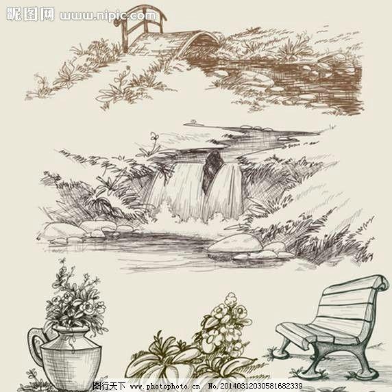 公园素描 素描 画作 鲜花 绿植 瀑布 休闲椅 时尚背景 绚丽背景 背景