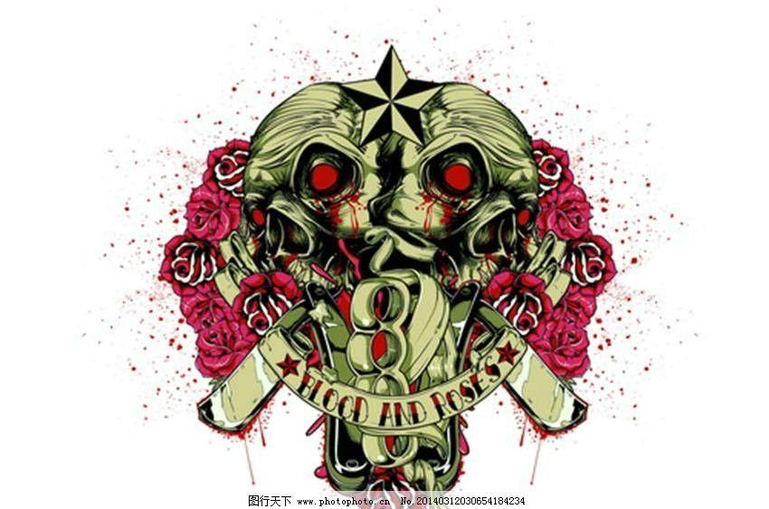 服装设计 t恤 欧美花纹 m欧式花纹 恐怖图案 哥特风格图案 纹身图案