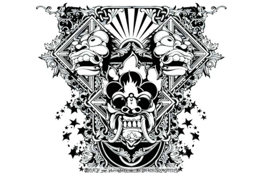 服装设计 t恤 欧美花纹 m欧式花纹 恐怖图案 哥特风格图案 纹身图案-m