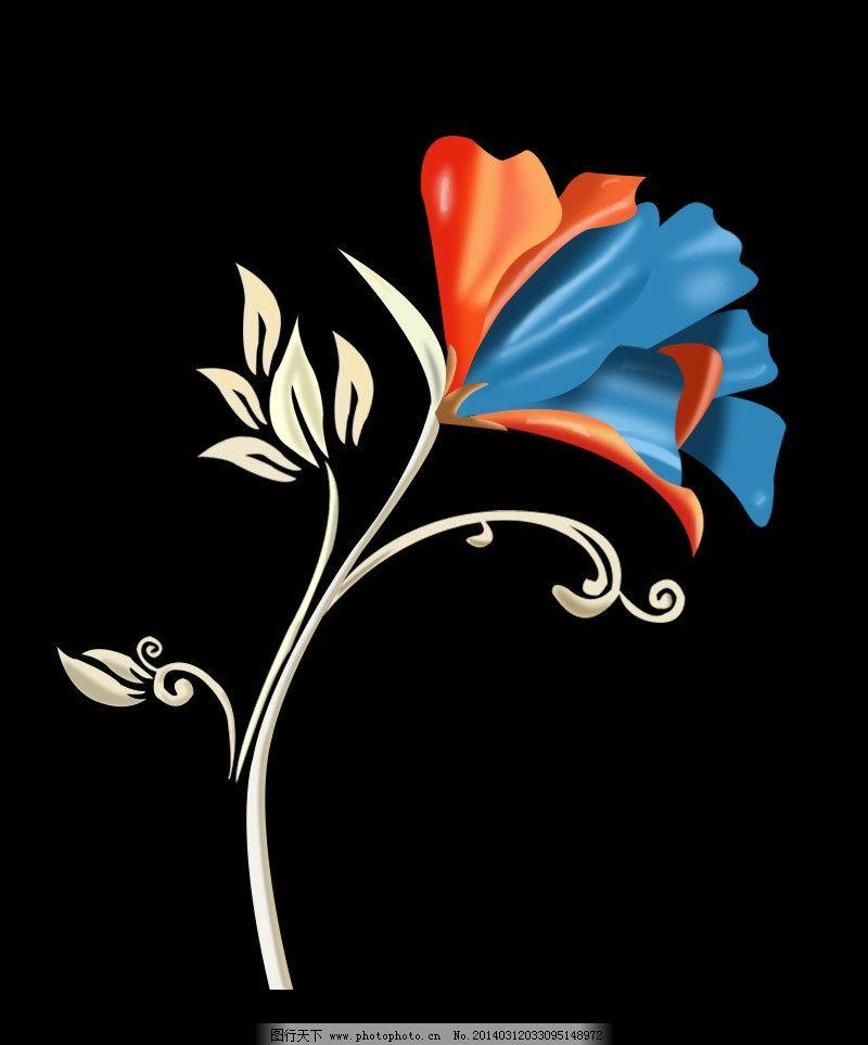花朵 花 一朵花 花纹素材 手绘ps花 花和花瓣 红色的花 蓝色的花 psd