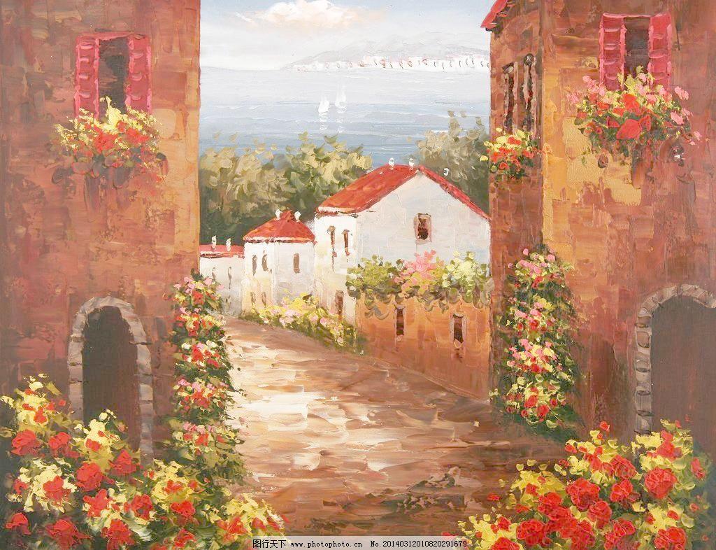 地中海 地中海油画 复古 绘画书法 建筑 欧式 设计 手绘油画 地中海