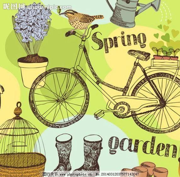 自行车休闲生活 自行车 休闲生活 鲜花 浇水 鸟笼 时尚背景 绚丽背景