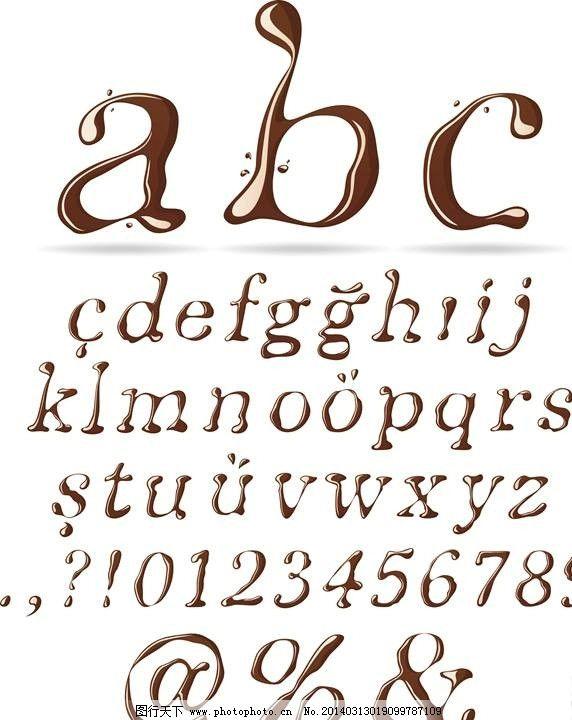巧克力字体 字体设计 巧克力设计 时尚背景 绚丽背景 背景素材