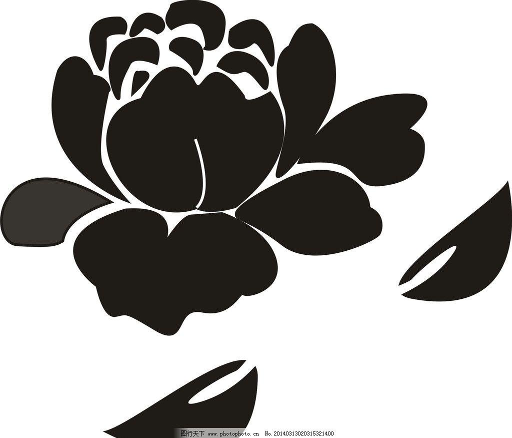 牡丹花 黑白牡丹花 手绘花 手绘牡丹花 花纹花边 底纹边框 矢量