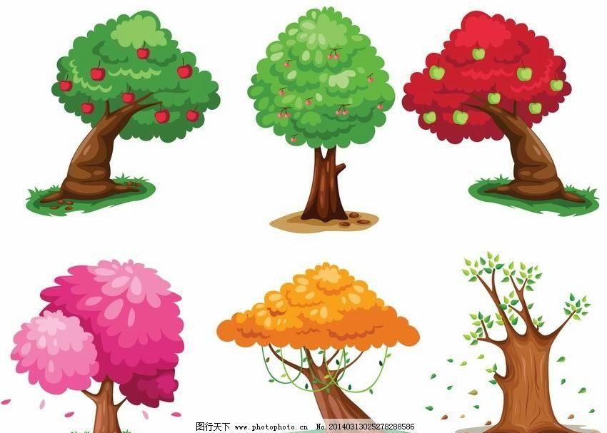 卡通树 卡通 树木 春夏秋冬 可爱 手绘 矢量 植物主题 树木树叶 生物