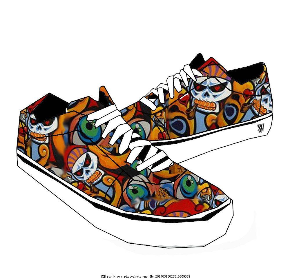 鞋类设计 中国风手绘 设计 鞋子 帆布鞋 漫画 彩色 中国风 复古 手绘