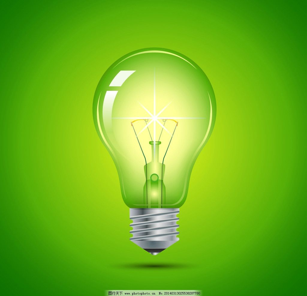 求创意设计绿色灯泡图片
