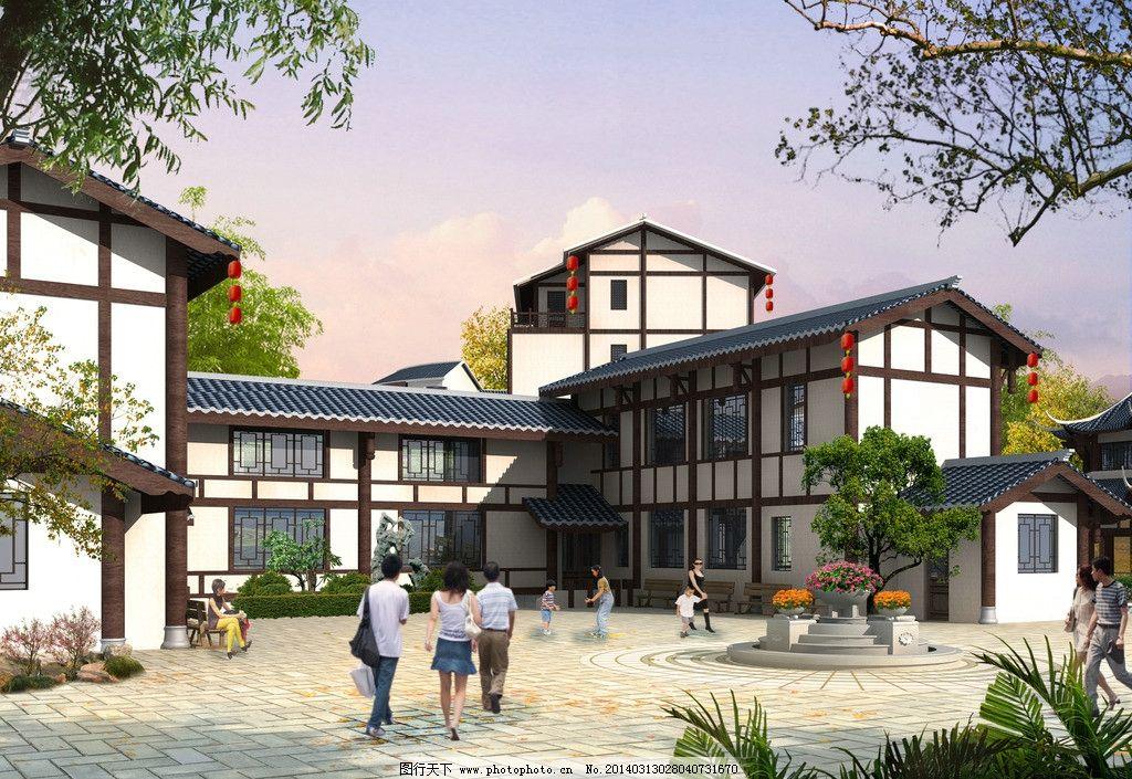 古建效果圖 透視圖 古建透視效果圖        房屋建筑效果圖 建筑設計