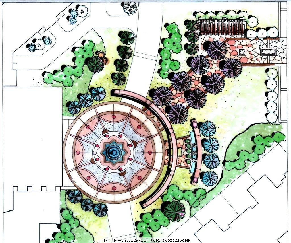 手绘别墅庭院景观 手绘 景观 水景 别墅 庭院 别墅庭院 景观设计 环境