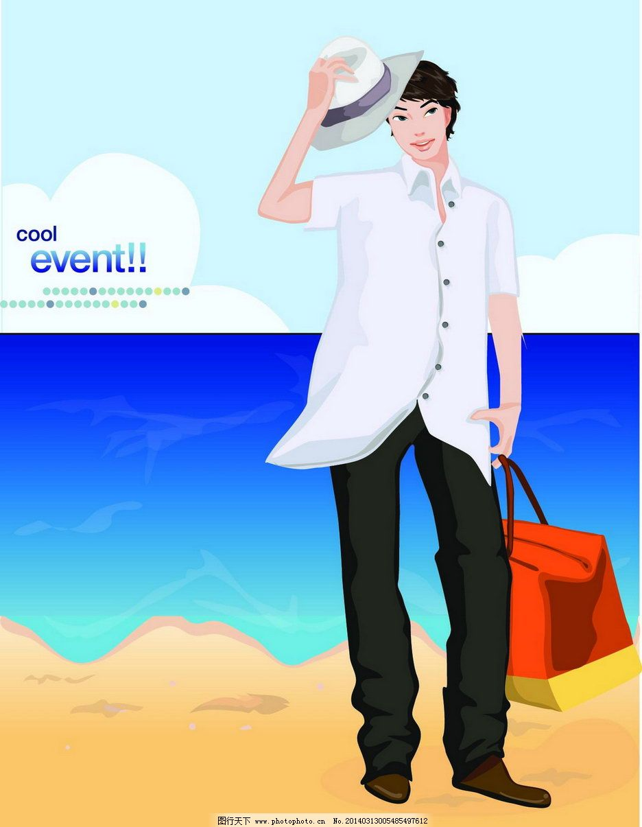 插画 韩国卡通 男人 矢量人物 矢量 ai男人矢量素材 海边 戴帽子的