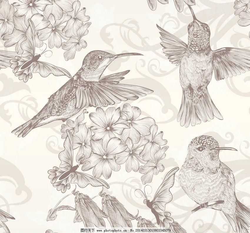手绘小鸟花朵图片