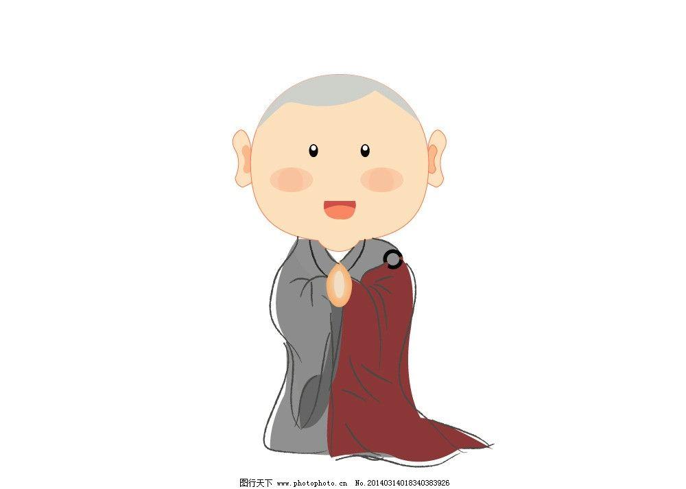 小沙弥 沙弥 小和尚 出家人 佛教 佛门弟子 住持 合掌 祈福 拜拜 卡通